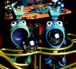 """The two creatures that volunteered as ball locks for 'Looped In Space' multiball. Photo courtesy of Capcom Pinball.""